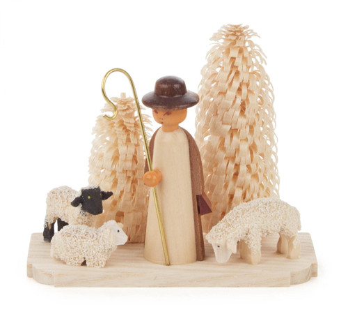 Wooden Shepherd Sheep German Figurine  FGD074x470x1N