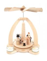 Santa Snowmen German Tea Light Natural Pyramid
