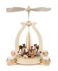 German Christmas Natural Nativity Figurines TeaLight Pyramid  PYD085X520