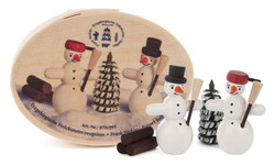 Snowmen in Wood Box German Figurine Set