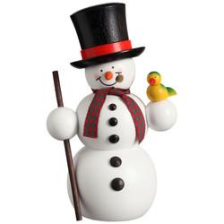 Happy Snowman with Bird German Smoker Figurine 5.9 Inches - 12213