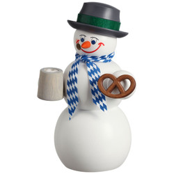 Happy Bavarian Snowman with Beer German Smoker Figurine 5.5 Inches - 12213