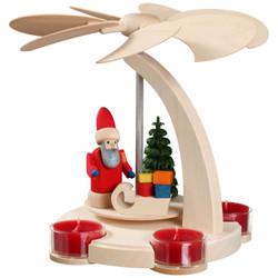 Santa Claus Sleigh German Pyramid Tealight Carousel 7.1 Inches - 16251
