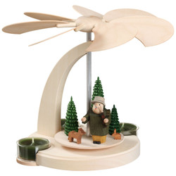 Forest German Pyramid Tealight Carousel 7.1 Inches - 16252