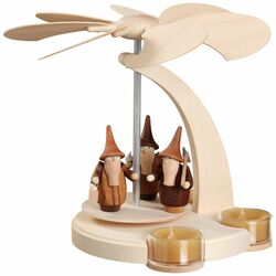 Pyramid Natural Gnomes German Tealight Carousel 7.1 Inches - 16254