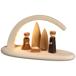 German Candle Arch Nativity Schwibbogen Natural LED - 15362