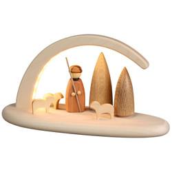 German Candle Arch Shepherd Sheep Schwibbogen Natural LED 15363