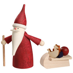 German Santa Gnome with Sleigh Figurine 2.8 Inches - 16664