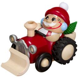 Chunky MINI Santa on Tractor German Smoker Incense Figurine - 4.3 Inches - 19170