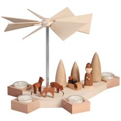 Natural Santa Sled Deer German Pyramid Tealight 9.1 Inches - 16403