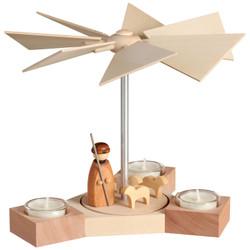 Shepherd Sheep Natural German Tealight Pyramid 7.9 Inches - 16451