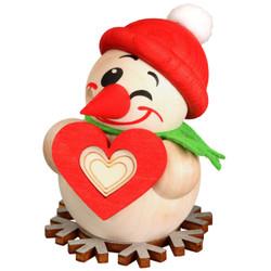 MINI Snowman with Heart German Smoker Incense Figurine 3.1 Inches - 19606