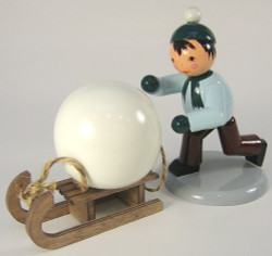 Winter Kids Snowball Sled 5 inch Figurine