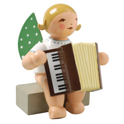 Blonde Angel Accordion Figurine Wendt Kuhn Sitting FGW650X48A