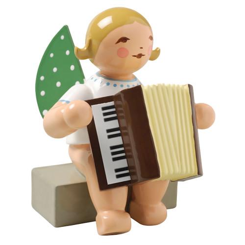 Blonde Angel Accordion Figurine Wendt Kuhn Sitting FGW650X48A