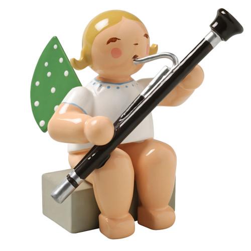 Blonde Angel Bassoon Figurine Wendt Kuhn Sitting FGW650X43A