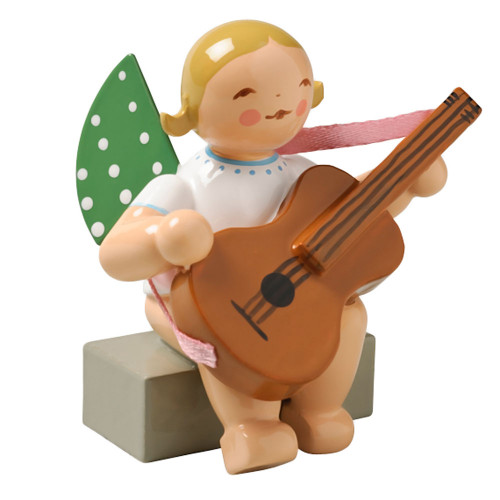 Blonde Angel Guitar Figurine Wendt Kuhn Sitting FGW650X38A
