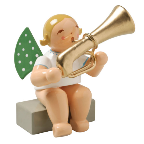 Blonde Angel Tuba Figurine Wendt Kuhn Sitting FGW650X28A