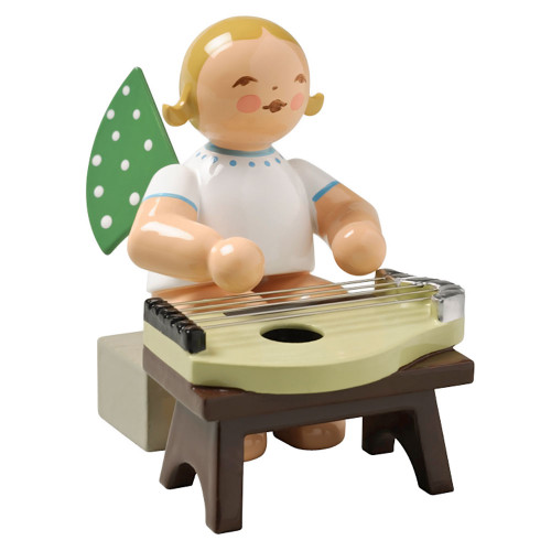 Blonde Angel Zither Figurine Wendt Kuhn Sitting FGW650X49A