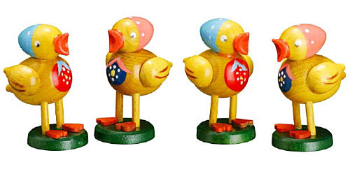 Baby Chicken Figurines Wooden