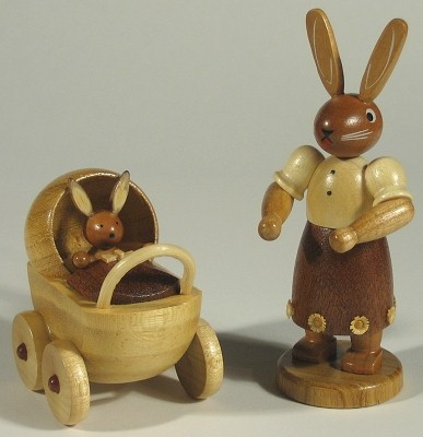 Mueller Mama Rabbit Buggy Figurine