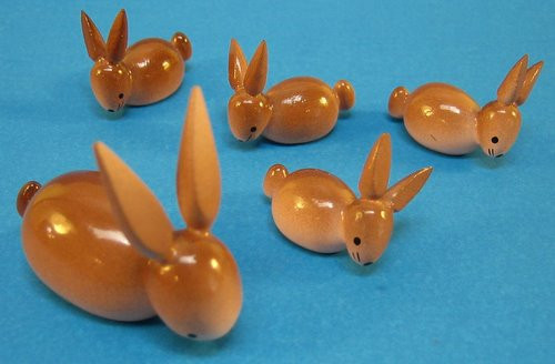 Painted Wooded Rabbits Figurines