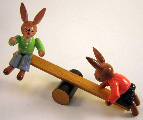 Rabbits Teeter Totter Figurine