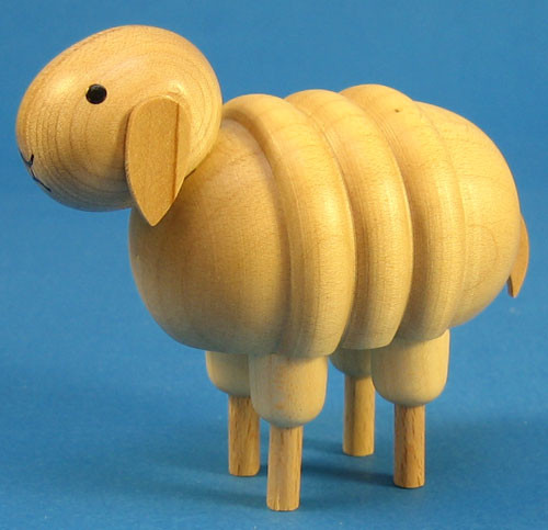 Sheep Figurine Wooden Rolly Polly