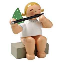 Wendt Kuhn Blonde Angel Sitting Flute Figurine FGW650X18A