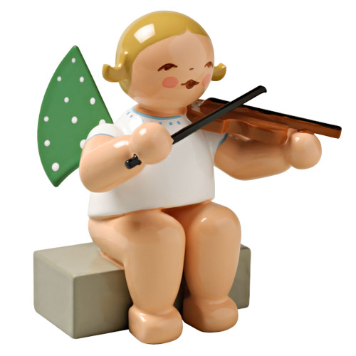 Wendt Kuhn Blonde Angel Violin Figurine Sitting FGW650X2A