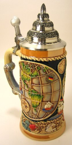 World Globe German Beer Stein