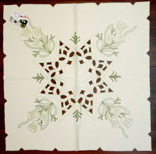Christmas Bows Bells Linen Square Tablecloth