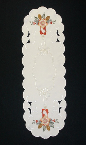 Christmas Candle German Table Topper Runner
