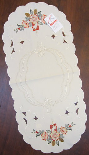 Christmas Candle German Linen Runner Tablecloth