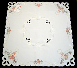 Christmas Candles Blooms German Linen Table Topper