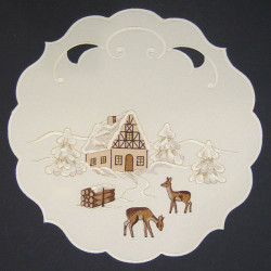 Christmas Winter Round German Table Topper TableCloth