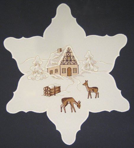 Christmas Winter Star German Table Topper Table Cloth