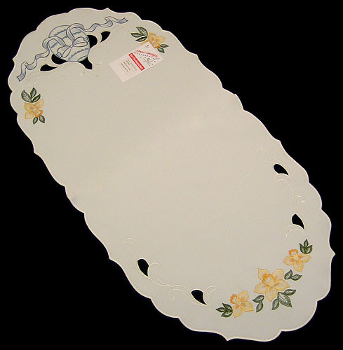 Easter Egg Tablecloth German Table Topper Oval