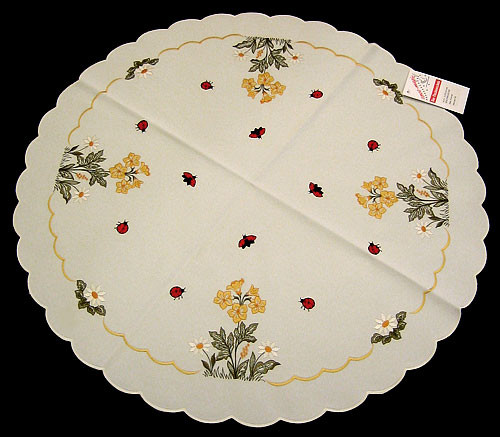 German Flower Lady Bug Round Table Topper