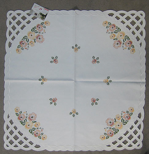 German Flower Square Linen Tablecloth