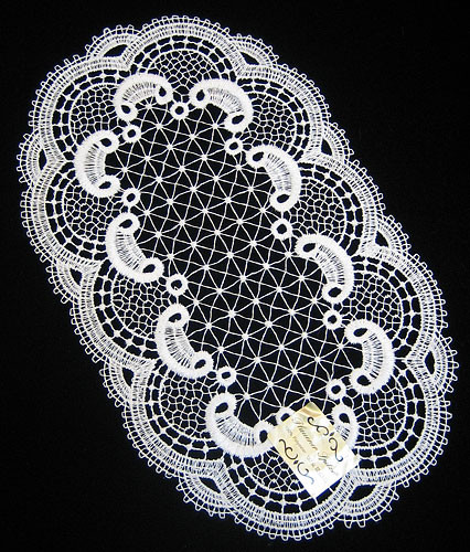 German Lace Oval Doily Table Topper