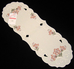 German Linen Lily Oval Tablecloth Runner