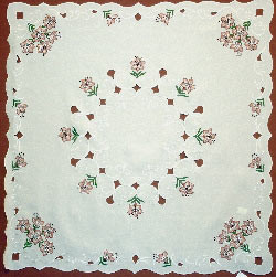 German Linen Lily Square Tablecloth