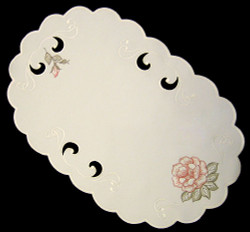 German Linen Rose Oval Runner 30X46