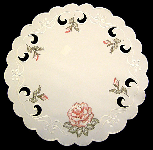 German Linen Rose Round Table Topper