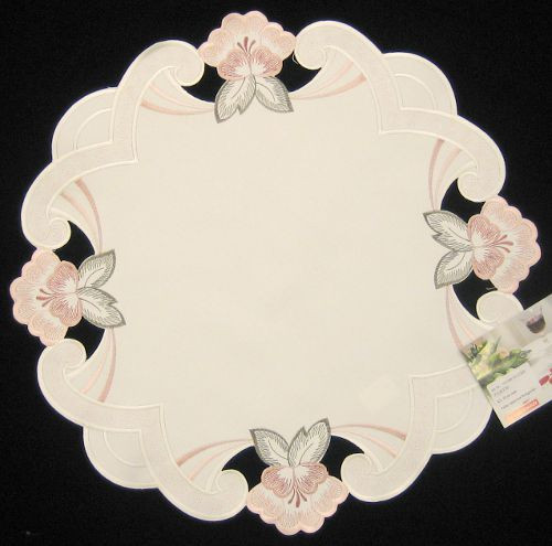 German Spring Pink Flowers Linen Table Topper