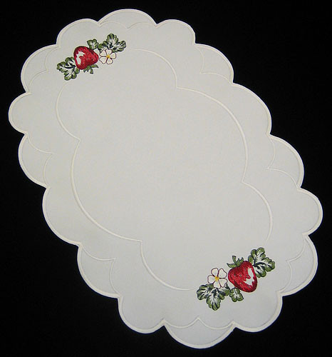 German Strawberry Oval Linen Tablecloth