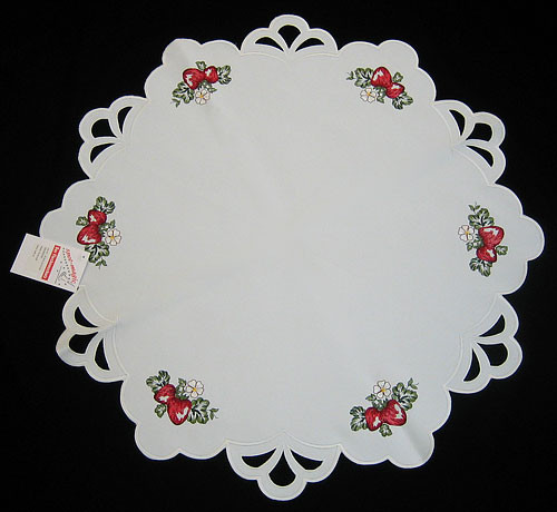 German Strawberry Round Linen Table Topper