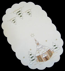 German Village Church Christmas Linen