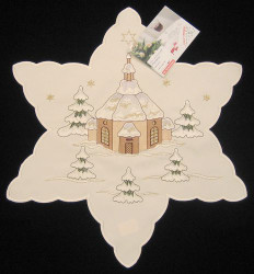 German Village Church Christmas Star Linen Doily